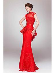 Fiesta formal Vestido - Rojo Corte Recto Hasta el Suelo - Escote Alto Encaje