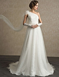 A-line Sweep / Brush Train Wedding Dress -One Shoulder Lace