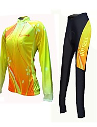 Quirell Women's Wicking Polyester Long Sleeve Cycling Suits-Yellow