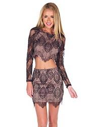 Women's Round Collar Lace Suit(Blouse&Skirt)