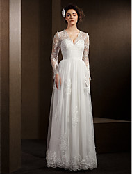 LAN TING BRIDE A-line Wedding Dress See-Through Floor-length V-neck Lace Tulle with Beading Lace Sash / Ribbon