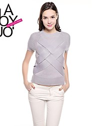 fino estereoscópico padrão transversal de manga curta tricô camisola das mulheres haoduoyi®
