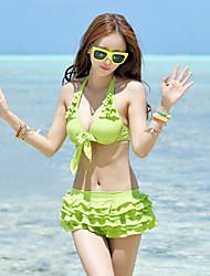 Sheqi Women's Sweet Girl Style Deep V Push-up Bikini Swimming Suit
