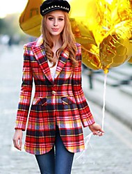 Pink Doll® Women's All Match Elegant Check Lapel Neck Tweed Coat