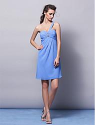 Knee-length Chiffon Bridesmaid Dress Sheath/Column One Shoulder