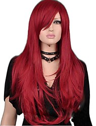 Charming Red Long Straight Synthetic Excellent Party Wig with Side Bang