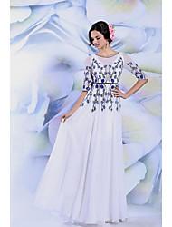 Formeller Abend Kleid A-Linie - bodenlang - U-Ausschnitt
