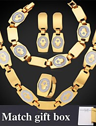 Fancy Hamsa Hand Palms Chain Necklace Earrings Bracelet Ring Set 18K Chunky Gold Plated for Women Match Gift Box