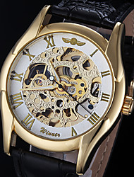WINNER® Men's Watch Automatic self-winding Skeleton Watch Hollow Engraving PU Band Cool Watch Unique Watch