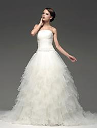 Princess Floor-length Wedding Dress -Bateau Satin