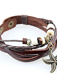 leather Charm BraceletsEuropean And American Retro Hand-woven Leather Bracelet Multi-Beaded Hanging Starfish Christmas Gifts