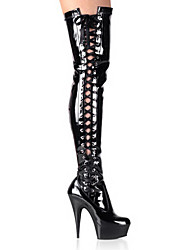 altas botas de alto brillo negro de la PU cuero 10.5cm stiletto talón del muslo