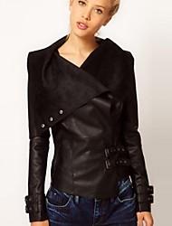 Women's PU Leather Lapel Coat