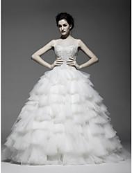 Ball Gown Floor-length Wedding Dress -Straps Satin