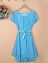 Women's Round Collar Fashion Elegant Chiffon Dresses (More Colors)
