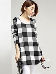 grande padrão de xadrez t-shirt de manga longa das mulheres