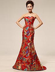 Vestido de Boda - Como la imagen (el Color y Estilo pueden variar según su monitor) Corte Sirena Tribunal - Borde Festoneado Satén