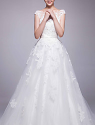 A-line Wedding Dress Chapel Train Bateau Organza with