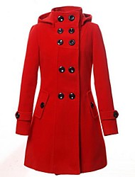 Women's Long Sleeve Wool/Cotton Coat , Casual