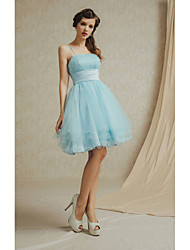 Knee-length Lace / Satin Bridesmaid Dress A-line Spaghetti Straps