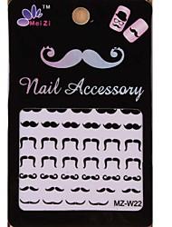 1PCS Cartoon Mustache Style Nail Art Stickers MZ Series MZ-W22