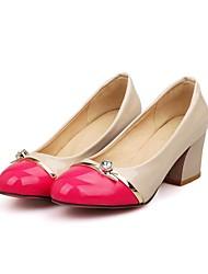 Zapatos de mujer - Tacón Robusto - Punta Redonda - Tacones - Vestido - Semicuero - Negro / Azul / Rojo