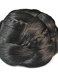 bun bobina do vintage chignon peruca (preto)