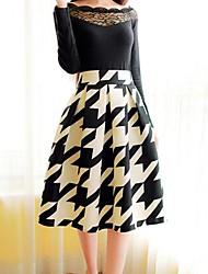 Women's Elegant Vintage Knee-length Skirts , Polyester Micro-elastic