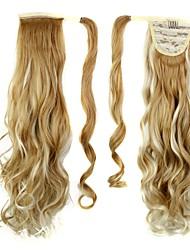 excelente qualidade pedaço de cabelo encaracolado clipe longo sintético de 26 polegadas em rabo de cavalo