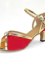 Women's Dance Shoes Latin/Ballroom Flocking Heel Red Customizable