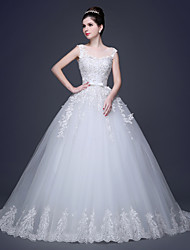 A-line Plus Sizes Wedding Dress Scoop Lace / Tulle with