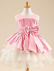 Ball Gown Princess Tea-length Flower Girl Dress - Satin Tulle Scoop with Bow(s) Sash / Ribbon Pleats