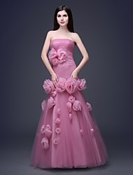 Formal Evening Dress - Fuchsia Plus Sizes / Petite A-line / Ball Gown Bateau / Strapless Floor-length