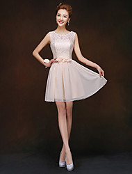Short/Mini Bridesmaid Dress - Champagne Sheath/Column Jewel