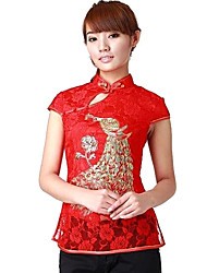 Women's Formal Vintage Summer Blouse,Embroidered Halter Short Sleeve Red / White / Black Thin