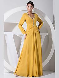 Fiesta formal Vestido - Amarillo Corte A Hasta el Suelo - Escote en V Gasa