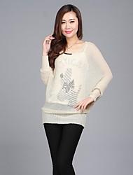 Aux femmes Casual/Mignon Extensible Moyen Manche longue Pull ( Coton/Tricot )