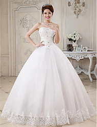 Ball Gown Sweetheart Floor Length Tulle Wedding Dress with Beading Appliques by JUEXIU Bridal
