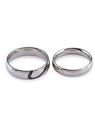 Heart Style Couple Lovers Titanium Steel Rings (Silver) (Size: Men US 8 ,Women US 6)