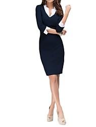 patchwork v pescoço vestido de 3/4 das mulheres