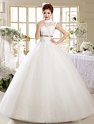Ball Gown Wedding Dress Floor-length High Neck Satin / Tulle with Beading / Sash / Ribbon / Appliques
