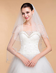 Wedding Veils Women's Elegant Tulle Rhinestone Two-tier Ribbon Edge Veils