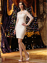 LAN TING BRIDE Sheath / Column Wedding Dress See-Through Short / Mini Jewel Lace with Lace