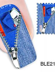1pcs Jeans Design Wassernagelkunstaufkleber ble2139