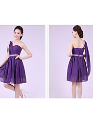 Short / Mini Bridesmaid Dress - A-line / Princess One Shoulder with