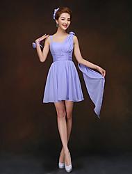 Corto / mini Vestito da damigella - Con stringhe A tubino Con bretelline con Fiore (i)