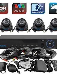 YanSe® 4CH 960H CCTV DVR Kit IR Color Waterproof DomeSecurity Cameras System 1000TVL 3.6MM S632-1CF04