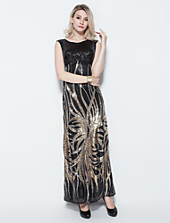 Formal Evening Dress Sheath / Column Jewel Floor-length Sequined with