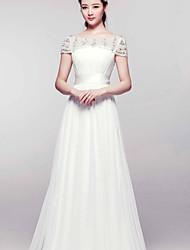A-line Court Train Wedding Dress -Bateau Chiffon