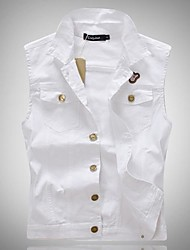 Men's Fashion Casual Solid WhiteSleeveless Jacket, Regular Denim / Jean Wear  Fashion White Color All Seasons Men's Fashion